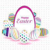 Easter day  for egg on vector design. Colorful egg isolated on white and pink background. Royalty Free Stock Images