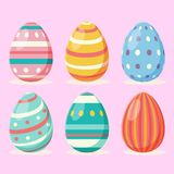 Easter day eggs collection in flat style design. For children coloring book royalty free illustration