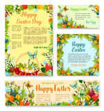 Easter Day festive banner and poster template set. Easter Day festive banner and poster template. Easter egg in green grass, floral wreath of painted eggs, lily Royalty Free Stock Image