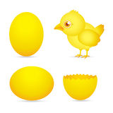 Easter day, golden chicken baby cartoon character with egg Royalty Free Stock Image