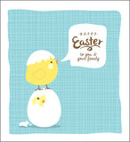 Easter day greeting card. With cute little chicks Stock Photography