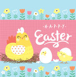 Easter day greeting card. With hen and little chicks Royalty Free Stock Photos