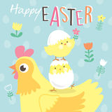 Easter Day greeting card. With little chicks and their lovely mom Stock Photos
