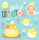 Easter Day greeting card. With little chicks and their lovely mom Royalty Free Stock Photo