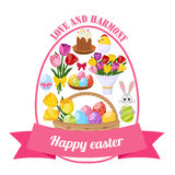 Easter Day Icons Set Stock Photos