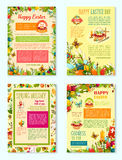 Easter Day, Spring Holidays poster template set. Easter Day, Spring Holidays cartoon poster template set. Easter egg, rabbit bunny, blooming flowers, chicken Stock Photos