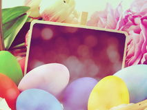 Easter day with vintage retro filter color Stock Images