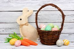 Easter decor against a white wood background Stock Photography