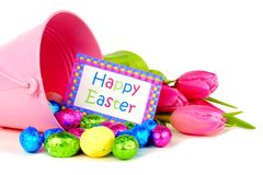 Easter decor and candy over white Royalty Free Stock Photo