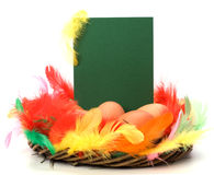 Easter decor with card Stock Photo