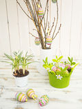 Easter decor with crocus, eggs and easter tree. Stock Photo
