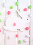 Easter decor element wooden rabbit Royalty Free Stock Images