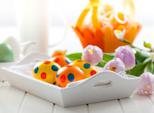 Easter decor with fresh tulips Stock Images