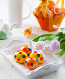 Easter decor with fresh tulips Royalty Free Stock Photography