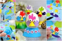 Easter decor handmade. A step-by-step instruction on how to make a hen and mask from colored cardboard for an egg. A fun idea of handmade for a child stock photos