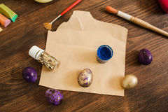 Easter decor masterclass painting eggs top view Royalty Free Stock Photo