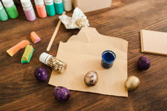 Easter decor masterclass painting eggs top view Royalty Free Stock Photography