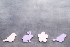 Easter decor on a wooden background. Pattern. Royalty Free Stock Images