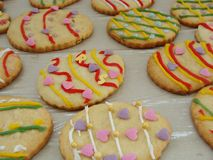 Easter decorated cookies. Egg shaped cookies for Easter Royalty Free Stock Images