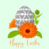 Easter decorated egg and calendula wreath. Ornamented festive egg with simple abstract ornaments. Spring holiday. Vector Illustration. marigold flower, orange Royalty Free Stock Image