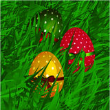Easter decorated eggs on grass background Royalty Free Stock Images