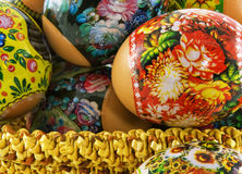 The easter decorated eggs lying in a wattled basket Royalty Free Stock Image