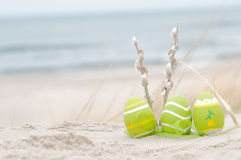 Easter decorated eggs on sand. Easter decorated eggs and catkin on sand. Beach and ocean in the background royalty free stock images