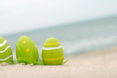 Easter decorated eggs on sand Stock Photo