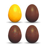 Easter decorated golden and chocolate eggs. Royalty Free Stock Images