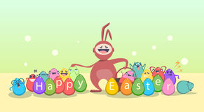 Easter Decorated Rabbit Colorful Egg Holiday Symbols Greeting Card Stock Image