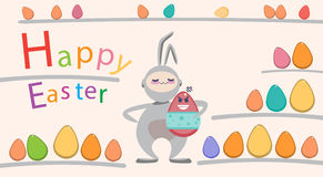 Easter Decorated Rabbit Colorful Egg Holiday Symbols Greeting Card Royalty Free Stock Photo