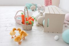 Easter decorated studio room with ducklings, carrots and painted big eggs. Horizontal shot.  Stock Image