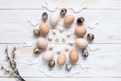Easter decoration – pattern of natural chicken and quail eggs. Top view, close up, flat lay on white wooden background.  stock photography