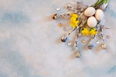 Easter decoration – willow, narcissus, bunny figurines and natural eggs. Top view, close up, flat lay on light concrete. Background royalty free stock photos