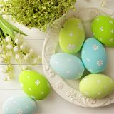 Easter decoration. Colorful easter eggs - easter decoration Royalty Free Stock Images