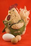 Easter decoration. Rooster on red background Stock Photography