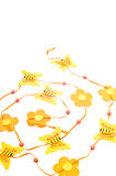 Easter decoration. Easter orange cute butterfly and flowers decoration Royalty Free Stock Photo