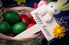 Easter Decoration. Easter basket decoration with Easter sign on blue Easter background royalty free stock photography