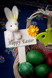 Easter Decoration. Easter basket decoration with Easter sign on blue Easter background royalty free stock image