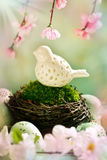 Easter decoration with bird in nest Stock Images