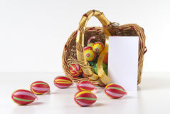 Easter Decoration with blank greeting card Stock Photos