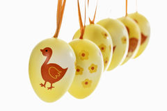 Easter decoration from blown and painted eggs Stock Photo