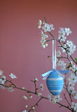 Easter decoration with blue egg Royalty Free Stock Photo