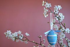 Easter decoration with blue egg Royalty Free Stock Photography