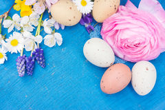 Easter decoration on blue wood Stock Images