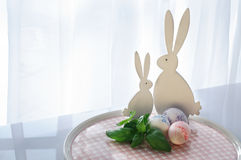 Easter Decoration with Bunnies Stock Images