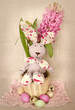 Easter decoration with bunny in basket, eggs and spring hyacinth flower Stock Photos