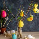 Easter decoration. Easter bunny,eggs and other Easter symbols stock photography