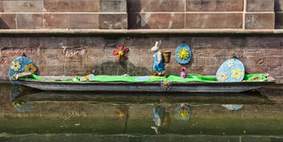 Easter Decoration on a Canal in Colmar royalty free stock image