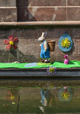 Easter Decoration on a Canal in Colmar royalty free stock photography